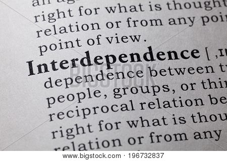 Fake Dictionary Dictionary definition of the word interdependence.