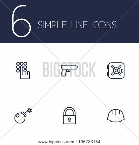 Collection Of Safe, Keypad, Helmet And Other Elements.  Set Of 6 Safety Outline Icons Set.