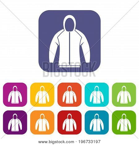 Sweatshirt icons set vector illustration in flat style in colors red, blue, green, and other