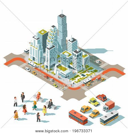 Vector Isometric info graphic city streets with different buildings, houses, shops and skyscrapers. Transport and people. Low poly style.