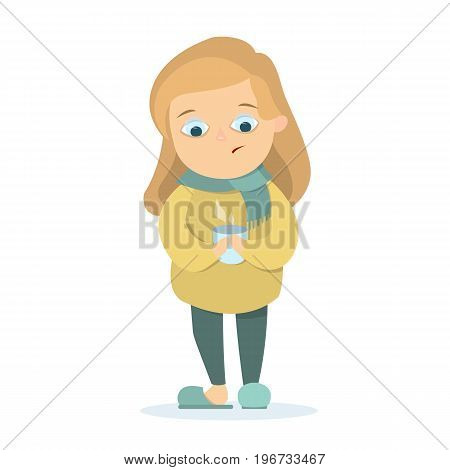 Isolated sick girl standing on the white background with hot cup.