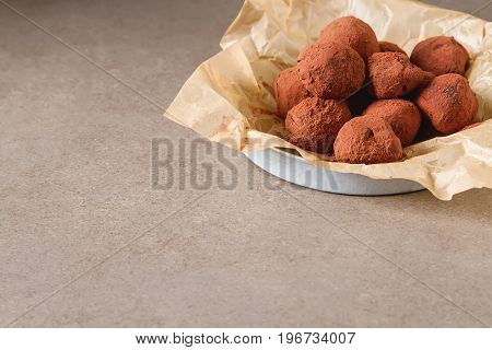 Homemade Chocolate Truffles With Cocoa Powder. Copy Space. Luxur