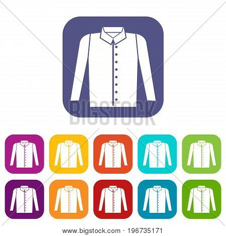 Shirt icons set vector illustration in flat style in colors red, blue, green, and other