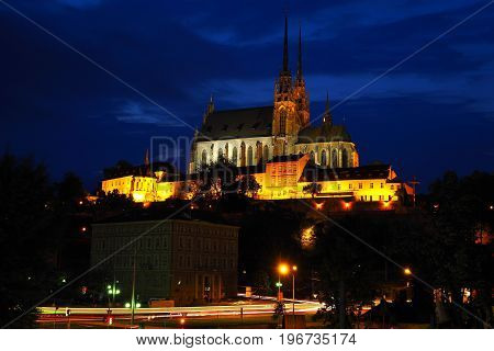 Night view of the Catholic Church of Peter and Paul Brno South Moravia Czech republic