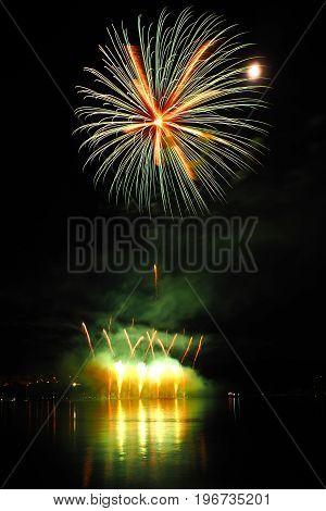 Fireworks over the Brno dam South Moravia Czech republic