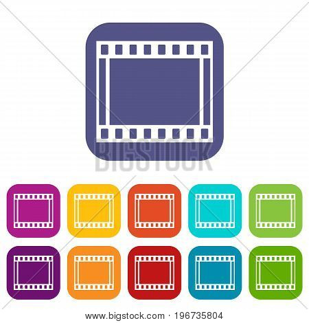 Film with frames movie icons set vector illustration in flat style in colors red, blue, green, and other