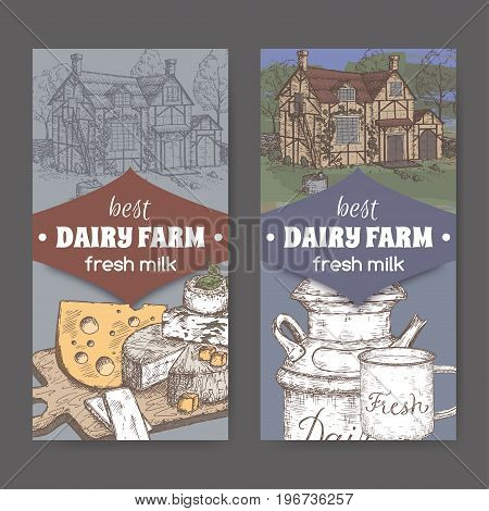 Two dairy farm shop labels with farmhouse, milk can, mug and color cheese plate. Includes hand drawn elements.