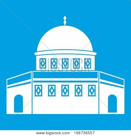 Dome of the Rock on the Temple Mount icon white isolated on blue background vector illustration