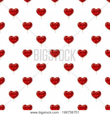 Red heart shaped lollipop pattern seamless repeat in cartoon style vector illustration