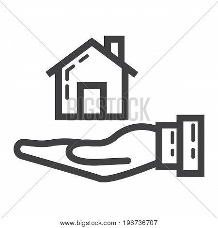 Home in hand line icon, business and finance, buy house sign vector graphics, a linear pattern on a white background, eps 10.