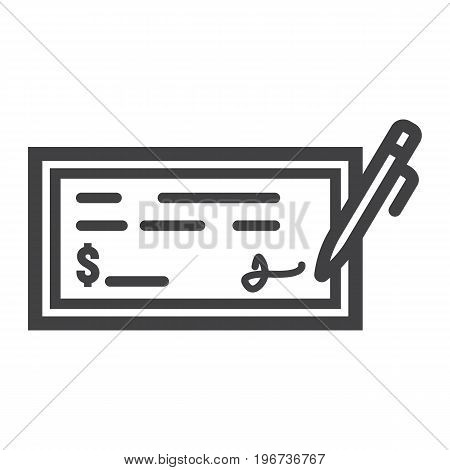 Bank check line icon, business and finance, pen sign vector graphics, a linear pattern on a white background, eps 10.