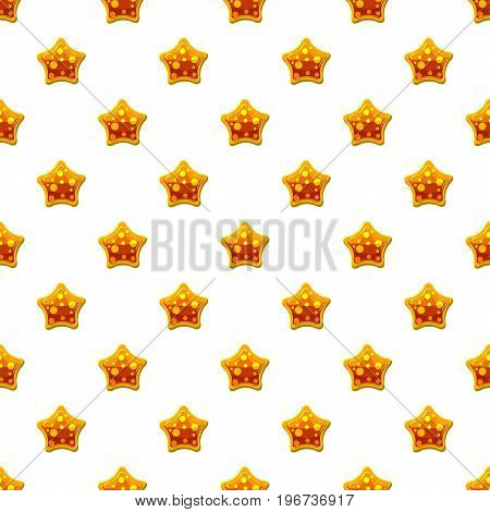 Orange star shaped candy pattern seamless repeat in cartoon style vector illustration