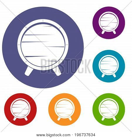 Barrel on legs icons set in flat circle red, blue and green color for web