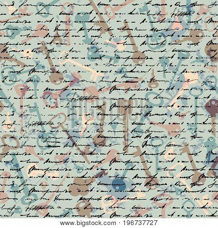 Seamless background pattern. Retro grunge pattern with a keys.