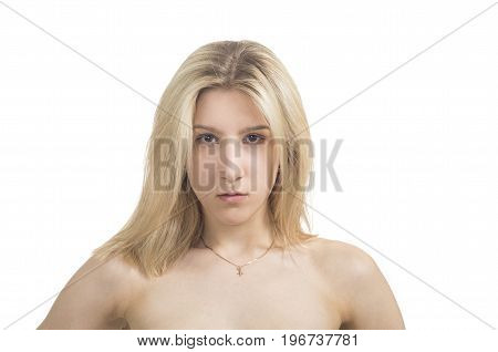 Portrait Of Emotional Girl On A White Background.