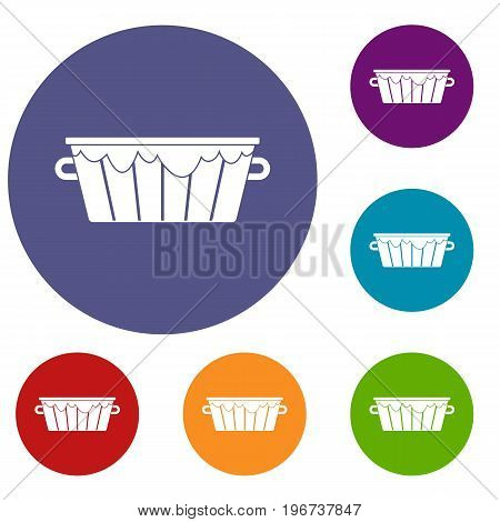 Wooden tub icons set in flat circle red, blue and green color for web