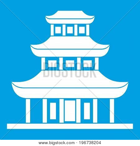 Buddhist temple icon white isolated on blue background vector illustration