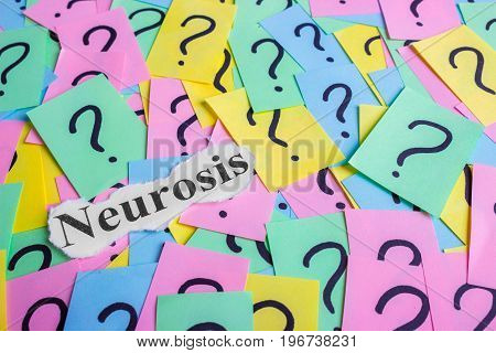 Neurosis Syndrome text on colorful sticky notes Against the background of question marks