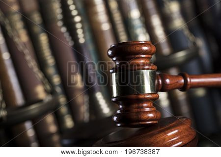 Law concept. Court library. Gavel and the books.