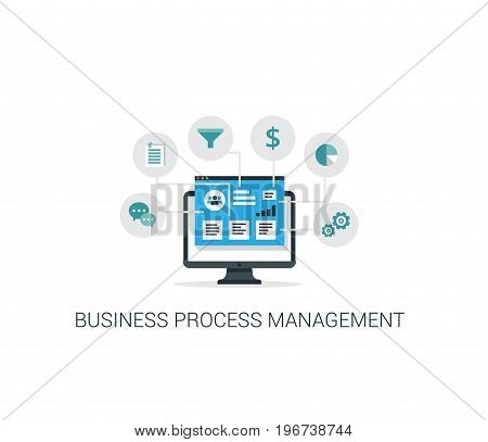 Business Process Management vector banner. Internet business concept.