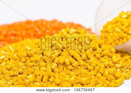 Polymeric Dye For Plastics. Pigment In The Granules On A Light Background.