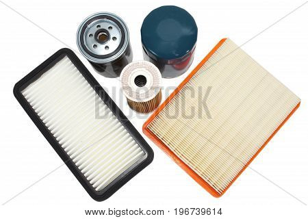 Spare Parts For The Car.filter Oil, Fuel, Air Isolated On White Background.