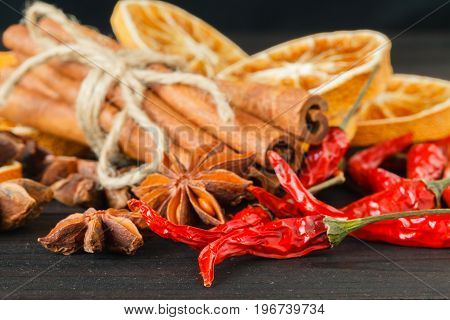 multi spicy and flavoring food ingredient on table