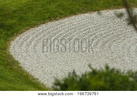 Japanese rock garden. Concentric pattern of stones.