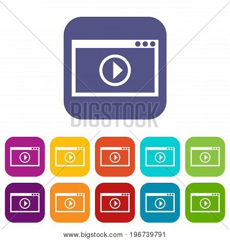 Program for video playback icons set vector illustration in flat style in colors red, blue, green, and other