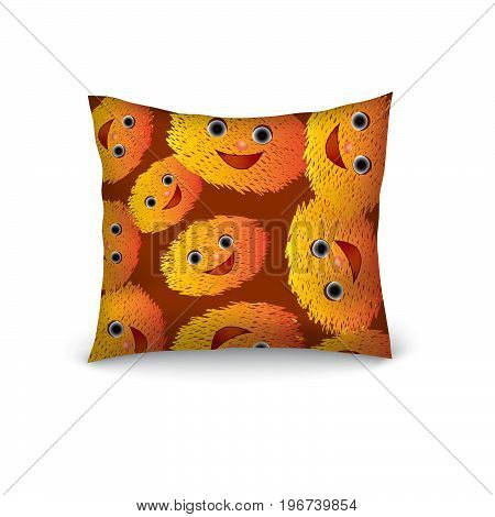 Pillow decorate cartoon funny emoticons smile seamless pattern. Editable vector template.