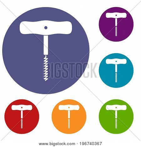 Corkscrew with a metal spiral icons set in flat circle red, blue and green color for web