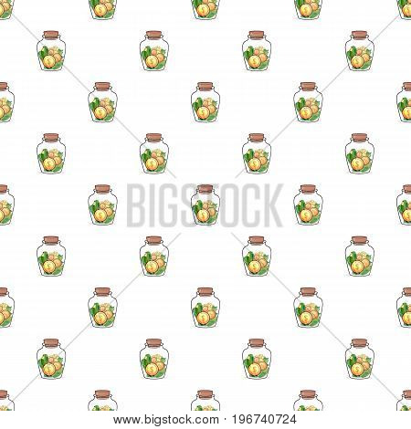 Coin in jar pattern seamless repeat in cartoon style vector illustration