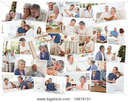 Collage Of Senior Couples Spending Time Together