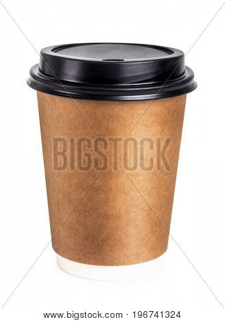 Disposable coffee cup with lid. isolated on white background