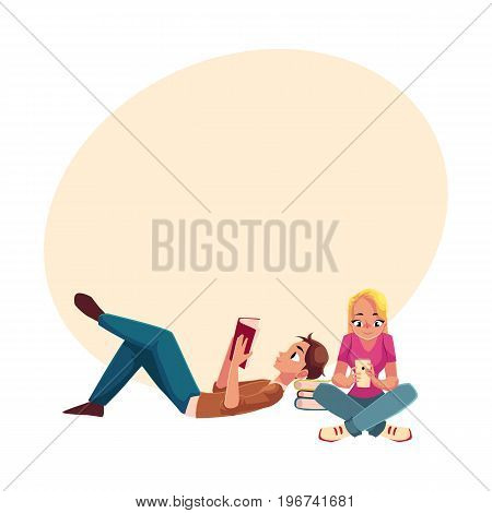 Boy, man reading book lying and woman, girl using mobile phone siting crossed legs on the floor, cartoon vector illustration with space for text. Man and woman reading book, using smartphone