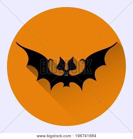 Cartoon Bat On Orange Background