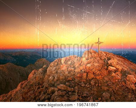 Film Effect. Lens Flare Light, Strong Effect.  Cross On Peak Of Hoher Goell. Iron Crucifix At Mounta