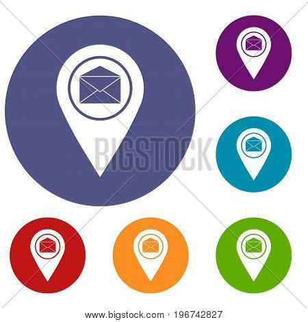 Marker location with envelope sign icons set in flat circle red, blue and green color for web