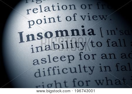 Fake Dictionary Dictionary definition of the word insomnia.