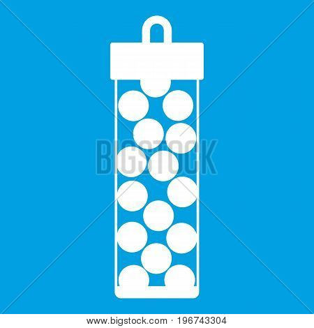 Pack with paintball bullets icon white isolated on blue background vector illustration