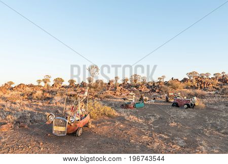 GARAS NAMIBIA - JUNE 14 2017: Sunrise view with funny displays at the quiver tree forest at Garas Park Rest Camp near Keetmanshoop on the B1-road to Mariental