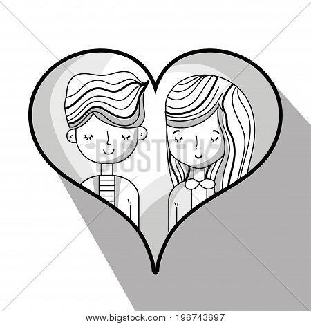couple lover inside heart design vector illustration