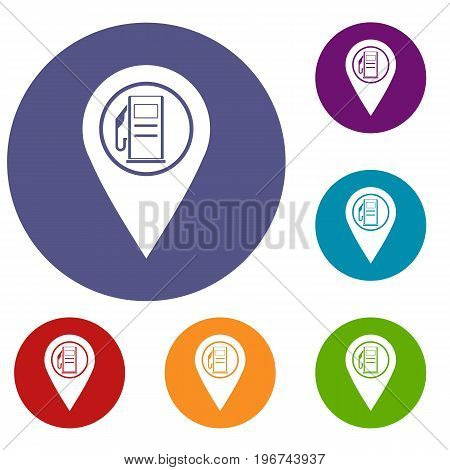 Map pointer with gas station symbol icons set in flat circle red, blue and green color for web