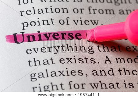 Fake Dictionary Dictionary definition of the word Universe.