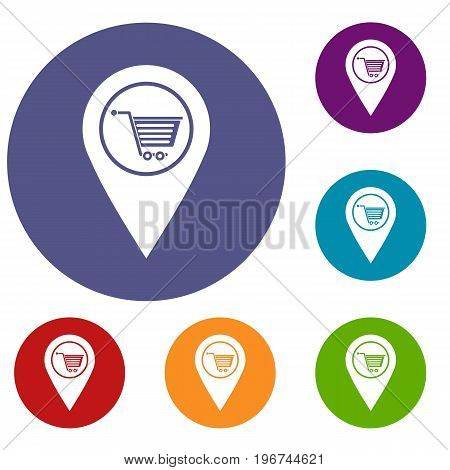 Geo tag with shopping cart symbol icons set in flat circle red, blue and green color for web