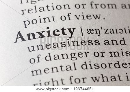 Fake Dictionary Dictionary definition of the word anxiety.