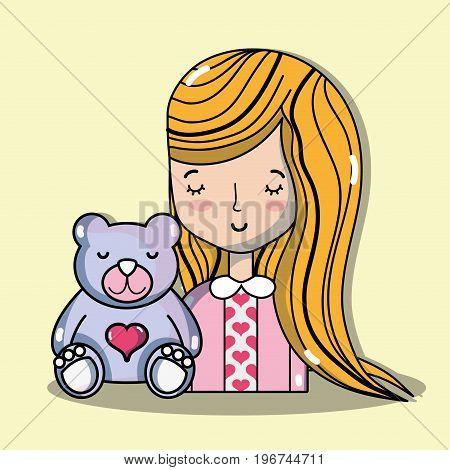 woman lover with teddy bear vector illustration
