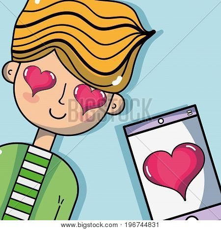 man lover with smarphone and heart vector illustration
