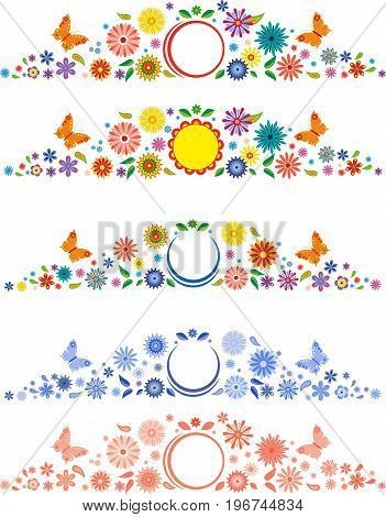 Labels with fancy flowers. Page decorations with a flower frame for page number.