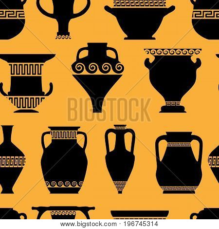 seamless pattern with antique ceramics, silhouettes of amphorae, pitchers and bowls